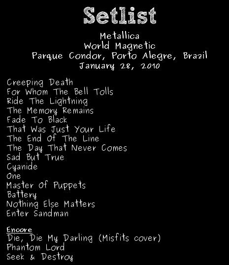 Metallica en Brasil - Setlist