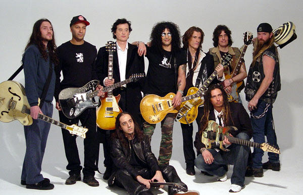 Guitarristas Historicos con varias Gibson Les Paul